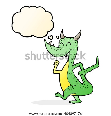 cartoon happy dragon with