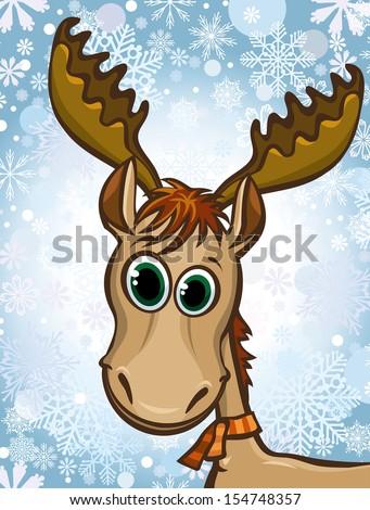 Cartoon happy elk on a winter snow background.