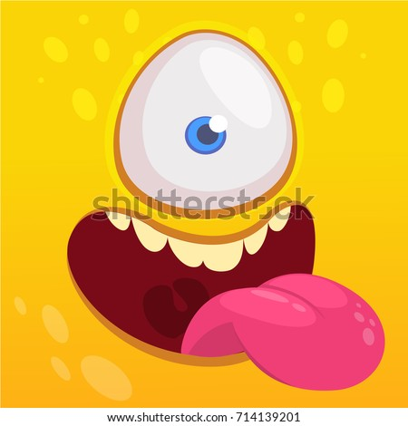 Cartoon happy funny aline character one eye. Vector illustration of alien face