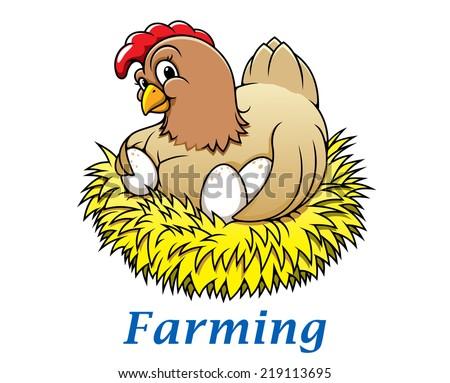 cartoon happy hen character