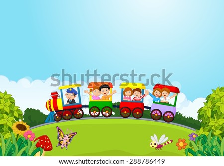 cartoon happy kids on a