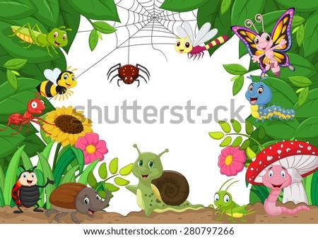 cartoon happy little animals