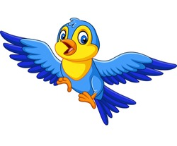 Cartoon happy little bird flying