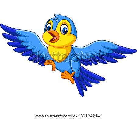 Cartoon happy little bird flying #1301242141