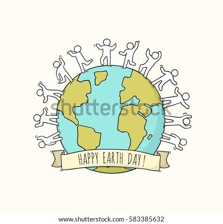 cartoon happy little people