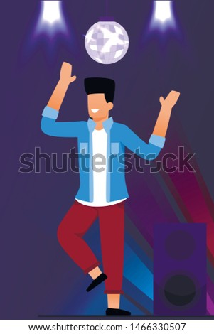 Cartoon Happy Man Character in Casual Clothes Clubbing and Dancing on Dance Floor under Disco-Ball in Night Club. Flat Guy Having Fun and Rest in Nightclub. Vector Disco Party Illustration