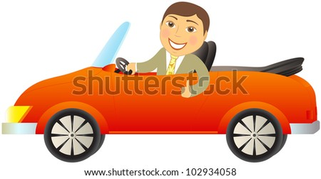 cartoon happy man in red car