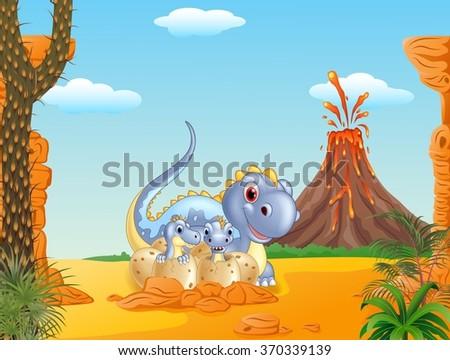 cartoon happy mom dinosaur and