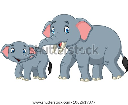 Cartoon happy mother and baby elephant