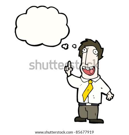 cartoon happy office man with idea