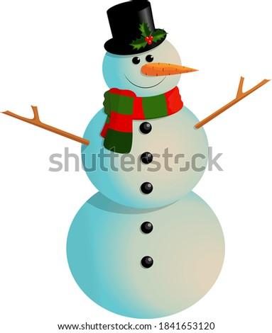 cartoon happy snowman in a