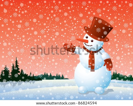 Cartoon happy snowman looking at the snowflake