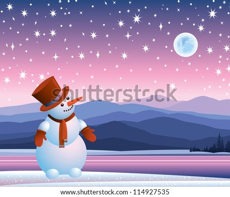 Cartoon happy snowman looking at the starry sky with moon