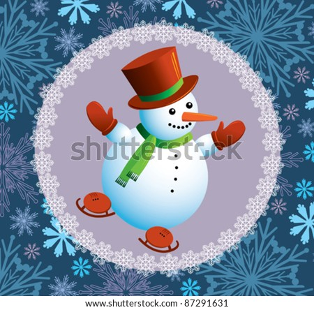 Cartoon happy snowman with skating - stock vector