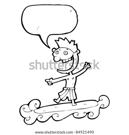cartoon happy surfer dude