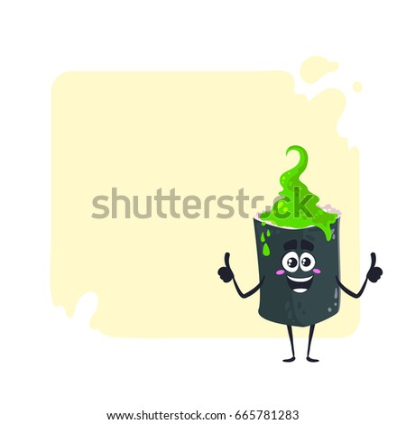Cartoon happy Sushi character with wasabi on head. Vector illustration isolated on light background with place for text