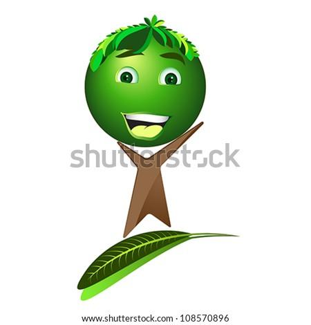 Cartoon happy tree - Save the earth, vector