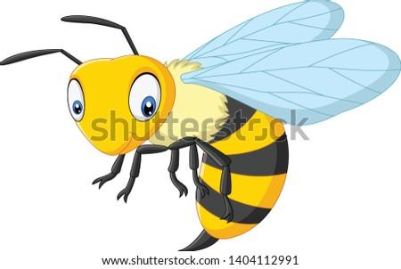 cartoon happy wasp isolated on