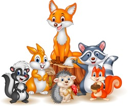 Cartoon happy wild animals