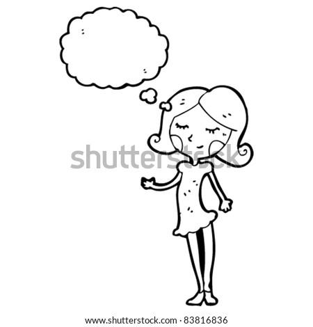 Woman Cartoon Drawing Cartoon Happy Woman Thinking
