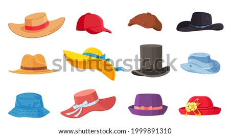 Cartoon hats. Female and male headwear, derby and cowboy, straw hat, cap, panama and cylinder. Summer women vintage fashion hats vector set. Illustration female and male accessory ca or hat