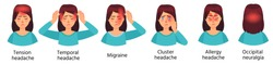Cartoon headache types. Tension, temporal pain, cluster, allergy and occipital headache. Female character with migraine vector illustration set. Unhappy woman suffering from illness or discomfort.