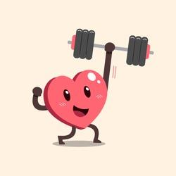 Cartoon heart character doing weight training for design.