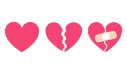 Cartoon heart set, broken heart and crack fixed with bandage. Breakup and heartbreak symbol. Simple flat vector style clip art illustration.