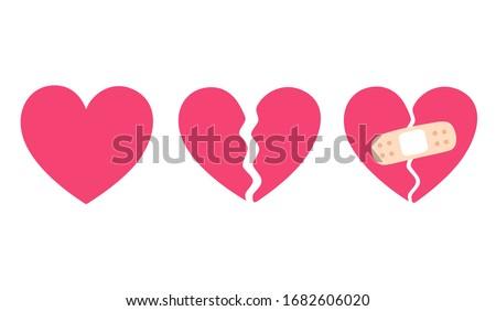 Cartoon heart set, broken heart and crack fixed with bandage. Breakup and heartbreak symbol. Simple flat vector style clip art illustration. Photo stock ©
