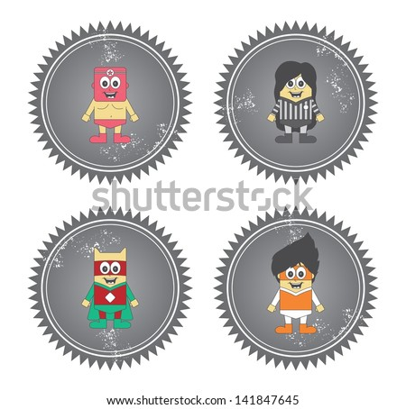 cartoon hero boy label grey