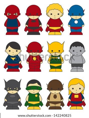 cartoon hero simple set