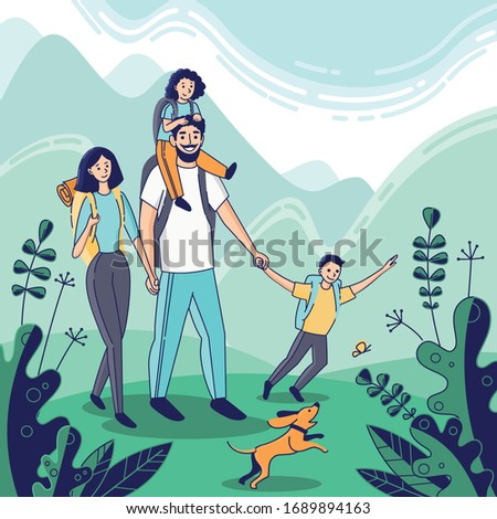 cartoon hiking family