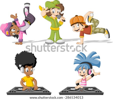 cartoon hip hop dancers with a