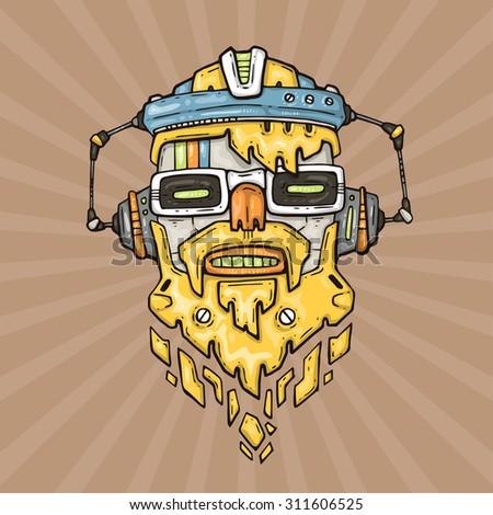 cartoon hipster robot head