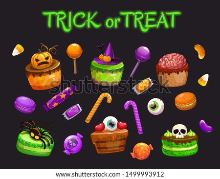 Cartoon holiday sweets. Spooky Halloween treats set. Candies, cakes, macaroons, caramel, lolly pops for Helloween celebration. Vector illustration.