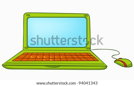 Cartoon Home Appliances Laptop Isolated on White Background. Vector. - stock vector