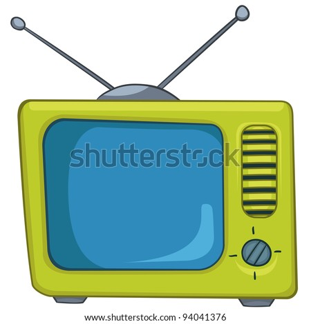 cartoon home appliances old tv