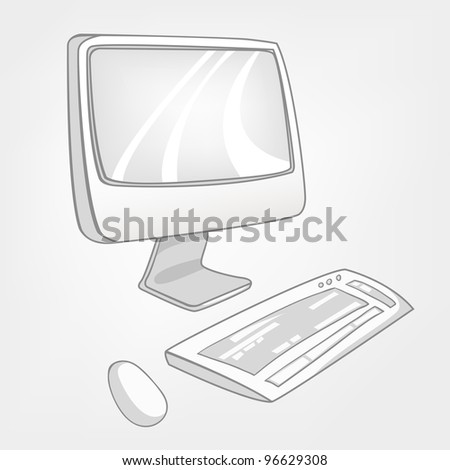 Cartoon Home Appliences Computer Isolated on White Background. Vector.