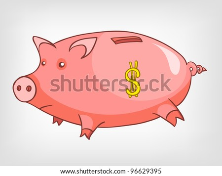 Cartoon Home Decoration Piggy Bank Isolated on White Background. Vector.