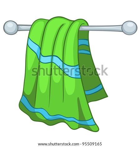Cartoon Home Kitchen Towel Isolated on White Background. Vector.