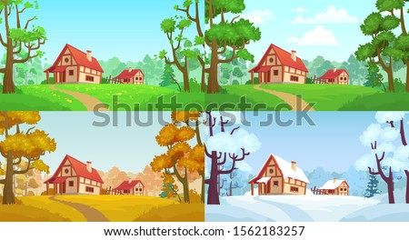 cartoon house in woods forest