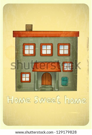 Cartoon Houses Postcard. Urban Condo on Vintage Background. Sweet Home - hand lettering. Vector Illustration.