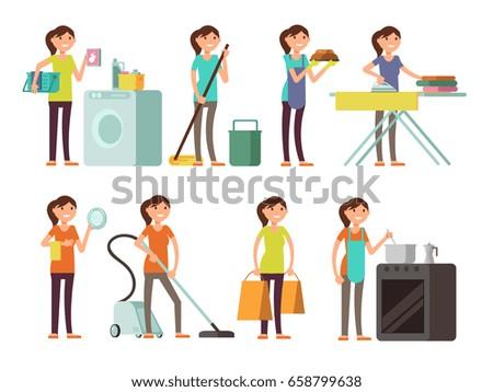 cartoon housewife in housework
