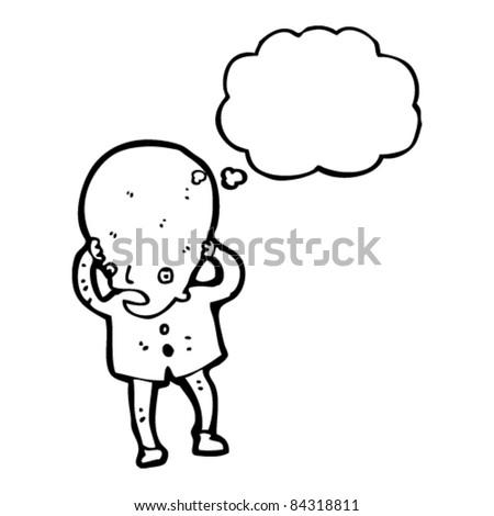cartoon huge brain man