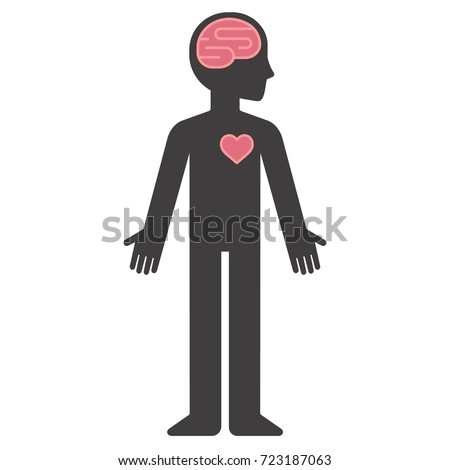 Cartoon human body silhouette with brain and heart. Mind and feelings concept vector illustration.