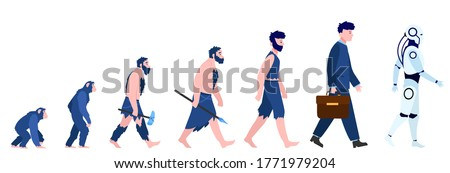 Cartoon human evolution isolated flat vector illustration. Man from monkey and caveman to cyborg or robot. Reality, history and anthropology concept Foto stock ©
