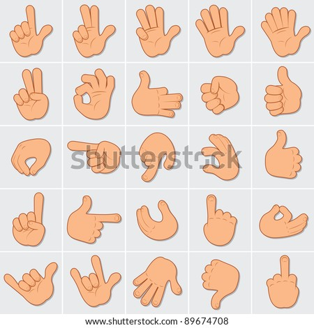 Cartoon Human Hands Illustrations, large vector collection of people hand gestures, signals and signs - stock vector