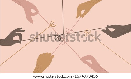 Cartoon human hands pulling on strings trying untie simple knots top view isolated. Team of different people arms collaborating together vector flat illustration. Concept of resolving problems easily Foto stock ©