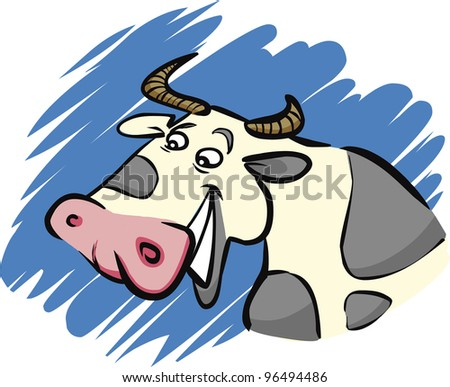 cartoon humorous illustration of funny farm cow
