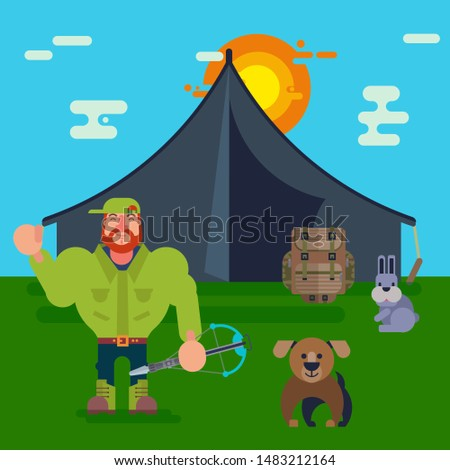 Cartoon hunters vector illustration. Hunter with dog, crossbow and hare near hunting tent on green grass and blue sky with clouds and sun background. Hunt sport for man.